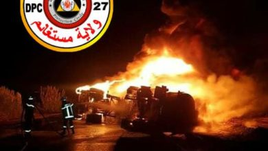 Photo of هلاك سائق شاحنة بعد انقلابها واحتراقها بمستغانم