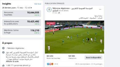 Photo of 173 ألف مشاهد تابع مباراة الخضر عبر الصفحة الرسمية للتلفزيون الجزائري على الفايسبوك